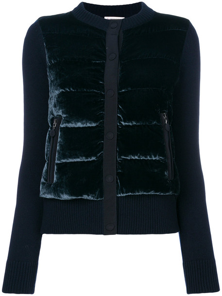 moncler jacket women blue wool velvet