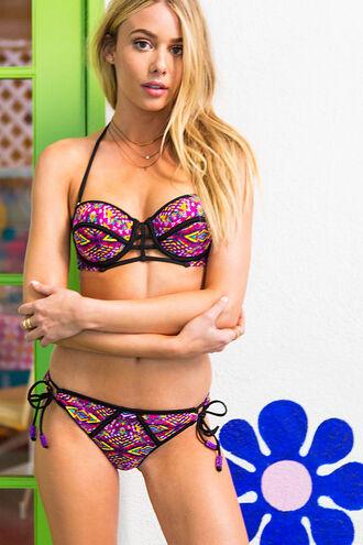 swimwear bikini boho tribal pattern bra vs pink yellow blue purple black white tumblr pattern strappy triangle