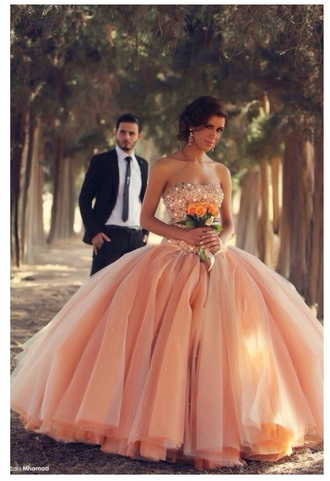 dress peach peach dress poofy ball gown gorgeous prom dress
