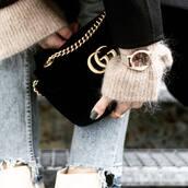 bag,tumblr,black bag,gucci,gucci bag,chain bag,velvet,gold watch,watch,nail polish,nails