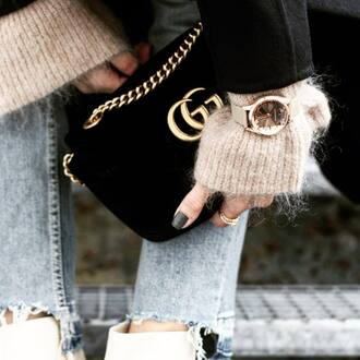 bag tumblr black bag gucci gucci bag chain bag velvet gold watch watch nail polish nails