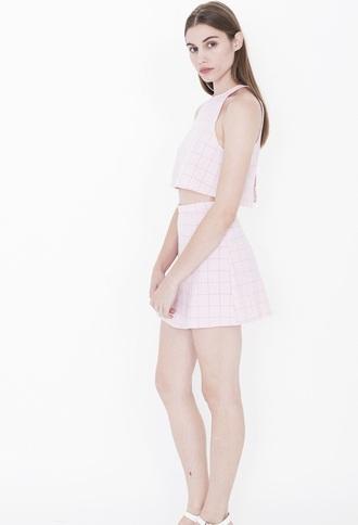 top aa pink grid grid tumblr cute pink skirt model