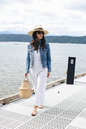 jumpsuit hat tumblr wide-leg pants stripes striped jumpsuit bag basket bag sandals flat sandals denim jacket denim sun hat sunglasses shoes