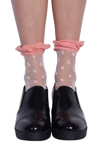 socks frilly socks polka dots mesh