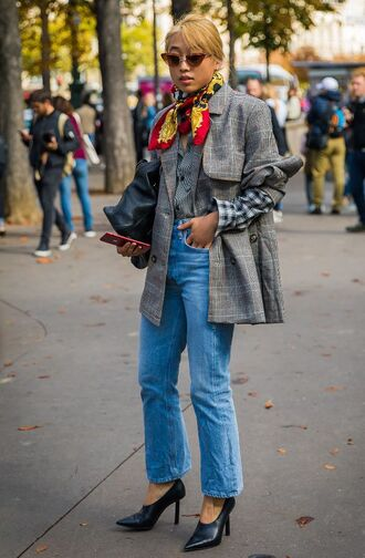 jacket black shoes tumblr streetstyle silk scarf denim jeans blue jeans pumps shoes blazer grey blazer plaid blazer check blazer sunglasses