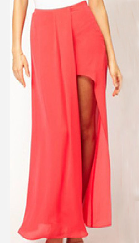 coral split front irregular chiffon maxi skirt sheinside