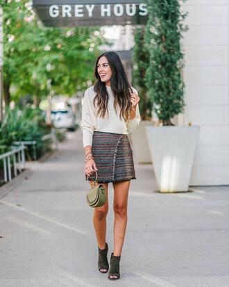 sweater tumblr white sweater skirt midi skirt wrap skirt boots peep toe heels peep toe boots bag handbag