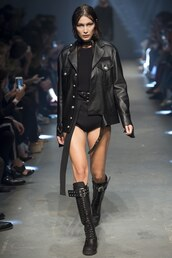 jacket,boots,all black everything,biker jacket,versus by versace,bella hadid,runway,model,london fashion week 2016