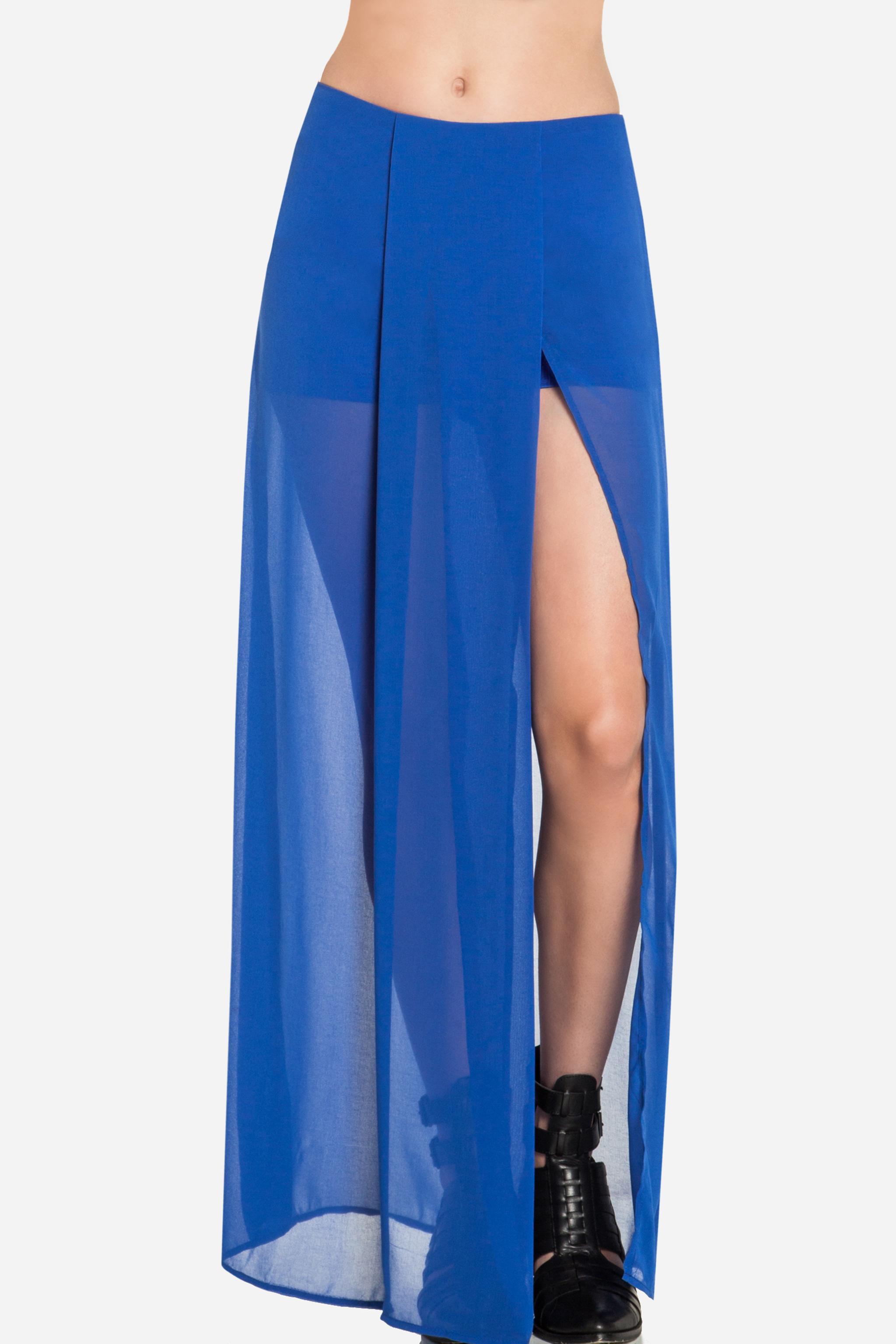 sheer maxi skirt in royal blue m l dailylook