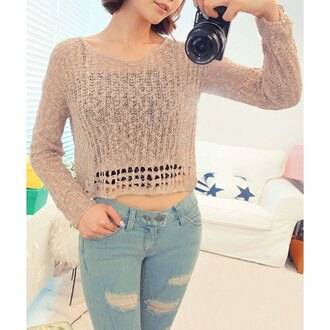 sweater cropped cropped sweater cream crochet see through asian cute streetwear casual instagram korean fashion korean style streetstyle camera jeans denim