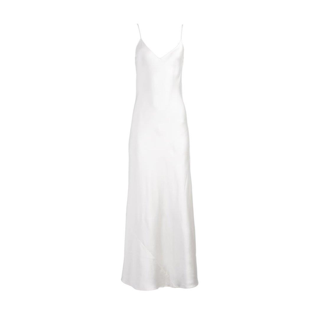 White Silk Slip Dress