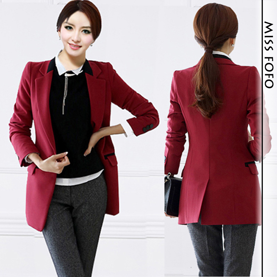 2014 spring/summer newest popular Women's Fashion Business wine red office lady Blazer Basic Jacket Notched collar-in Blazers from Apparel & Accessories on Aliexpress.com