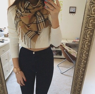 pants burberry scarf leather pants cream sweater scarf pinterest plaid