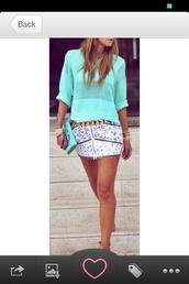 skirt,white,studded,embellished,shirt,teal,aqua,sweater,gold,blouse,oversized mint sweater,shoes,mini
