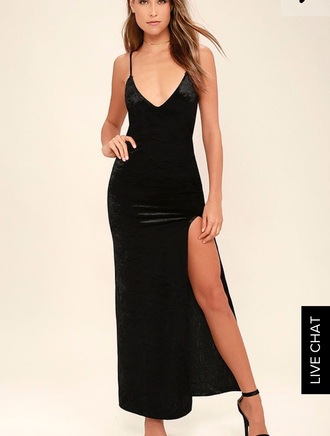 dress slit dress black prom dress velvet strappy strappy dress