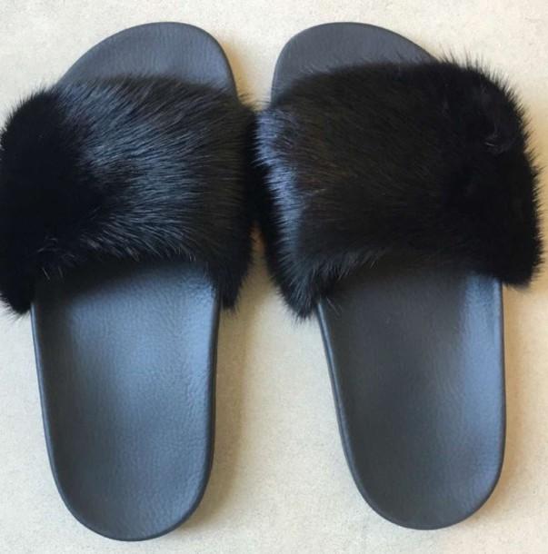 d77910f83dd5 shoes sandals black givenchy slide shoes fur slides