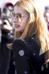 sunglasses,tumblr,round sunglasses,red hair,hair,emma roberts,celebrity,shirt,black shirt,make-up,natural makeup look,Paris Fashion Week 2017,fashion week 2017,fashion week,streetstyle