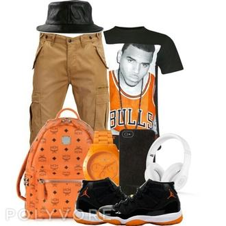 chris brown bucket hat jordans urban menswear orange hat earphones t-shirt bag