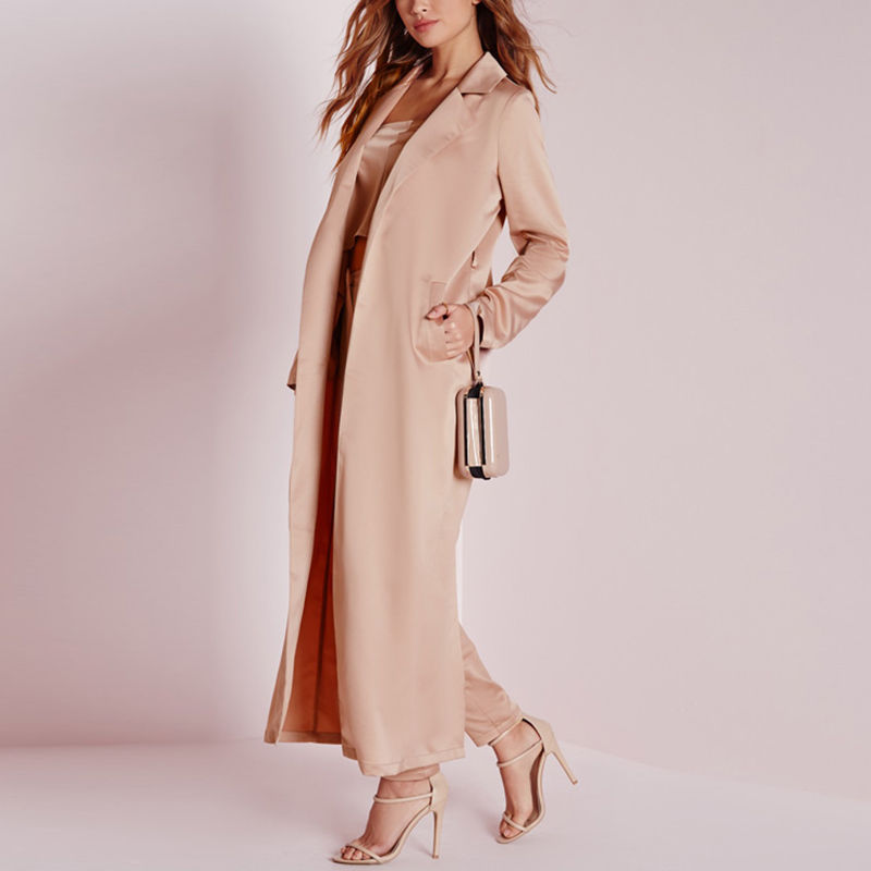 Style Spring Fashion Women Full Length Cardigan Slim Trench Coat ...