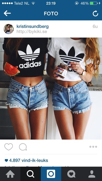 denim shorts ripped shorts cropped t-shirt adidas originals