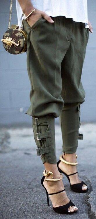 pants army green jogger heels