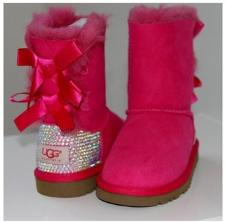 shoes pink uggs sparkle bows cute rhinestones boots style