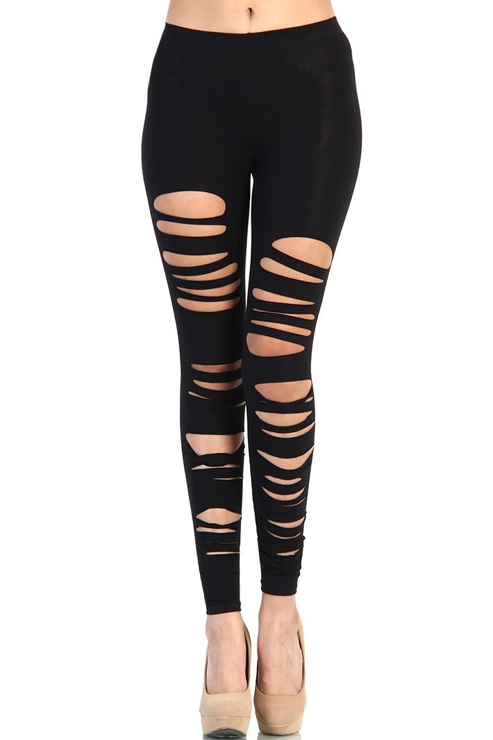 Ripped Cut out Leggings - Black