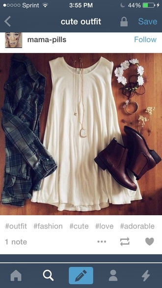 dress white dress and brown boots!