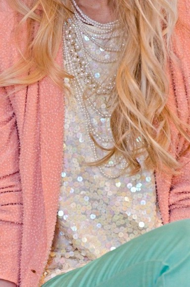 cardigan turquoise top peach sparkle slouchy sequins pearls