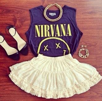 shirt skirt nirvana grunge omg 90s style girly grunge cute smile smile