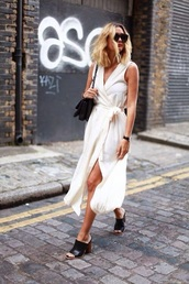 dress,midi dress,wrap dress,shoes,mules,sunglasses,bag,white dress,sleeveless dress,sleeveless,heels