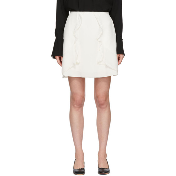 See by Chloé See by Chloé White Crepe Ruffle Miniskirt