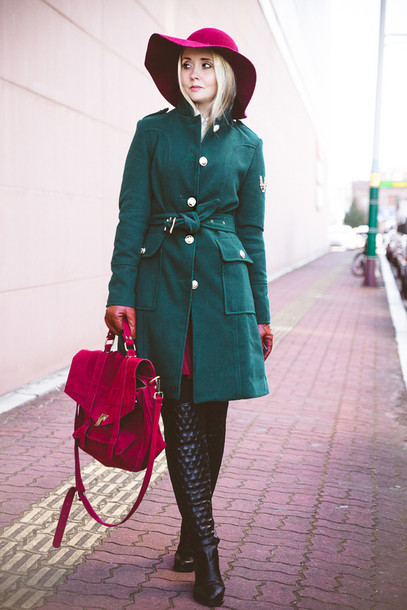 my blonde gal blogger shoes coat bag hat skirt sweater green coat