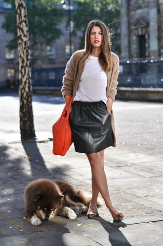 thank fifi blogger coat t-shirt skirt bag