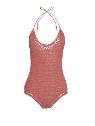 crochet dark pink swimwear