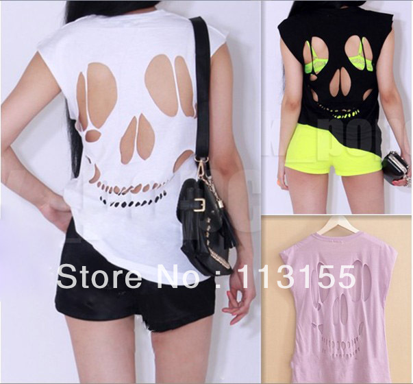 2013 new women's ladies sleeveless long cut out back skull t shirt womens top sexy t shirts