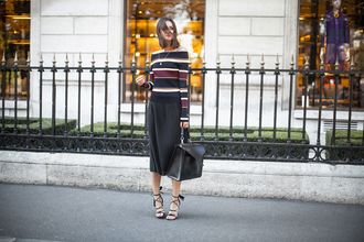 fashion agony blogger top skirt shoes bag jewels striped sweater