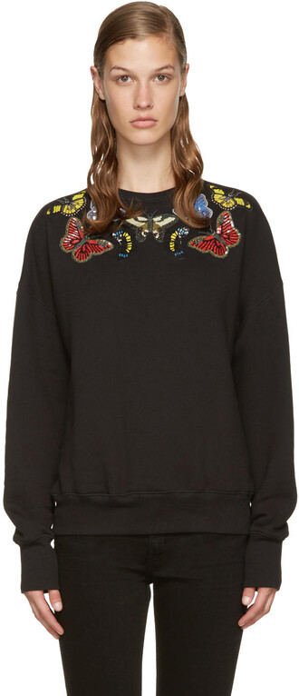 pullover embroidered black sweater