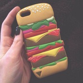 phone cover,iphone cover,iphone case,iphone,iphone 5 case,hamburger,cartoon,cute,style