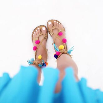 shoes sandals leather genuine leather leather sandals pom poms pom pom lace up lace up sandals tassel neon turquoise pink yellow blue open toes summer summer sandals summer outfits