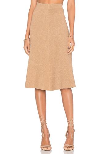 skirt knit metallic gold