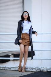 blouse,jacket,bag,shoes,sunglasses,jewels,mini skirt,suede skirt,white top,black jacket