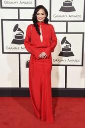 dress,red dress,gown,grammys 2016,kehlani
