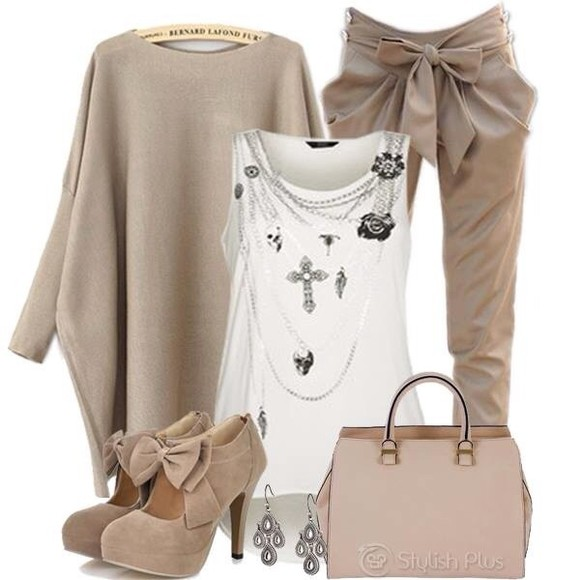 pants shoes brown pants baggy pants bag jacket bows stylish tank tops jewlery clothes, white, sheer, shirt high heels small bag