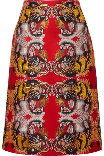 gucci skirt midi skirt midi jacquard red