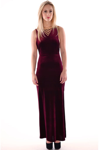 Womens Shaan V Back Sleeveless Velour Velvet Maxi Dress In Wine