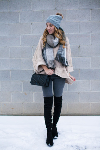 twenties girl style blogger sweater jeans shoes scarf bag hat beanie beige sweater shoulder bag thigh high boots boots