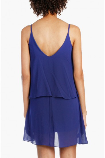 LoveMelrose.com From Harry & Molly | SHEER V-BACK LAYER DRESS - BLUE