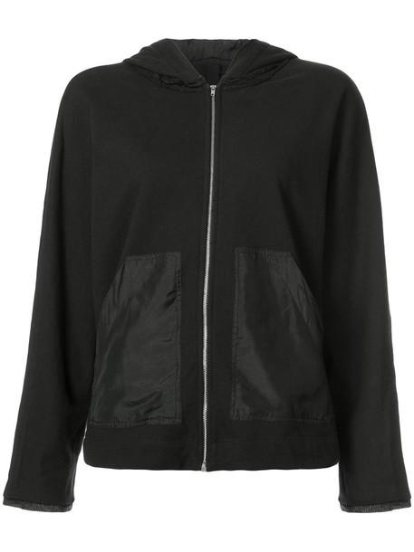 Raquel Allegra - bomber jacket with hood - women - Silk/Cotton - M, Black, Silk/Cotton