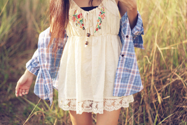 Dress white dress boho hippie shirt summer dress cute vintage flowers indie white ...